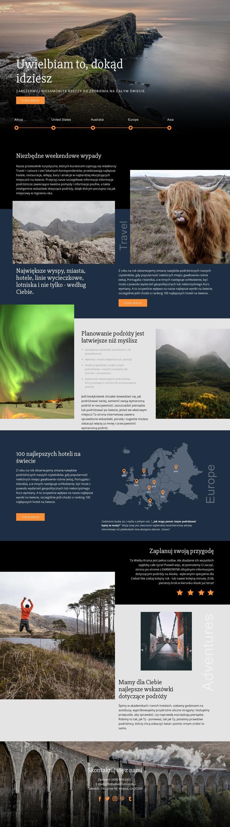 Planowanie podróży Szablon witryny sieci Web