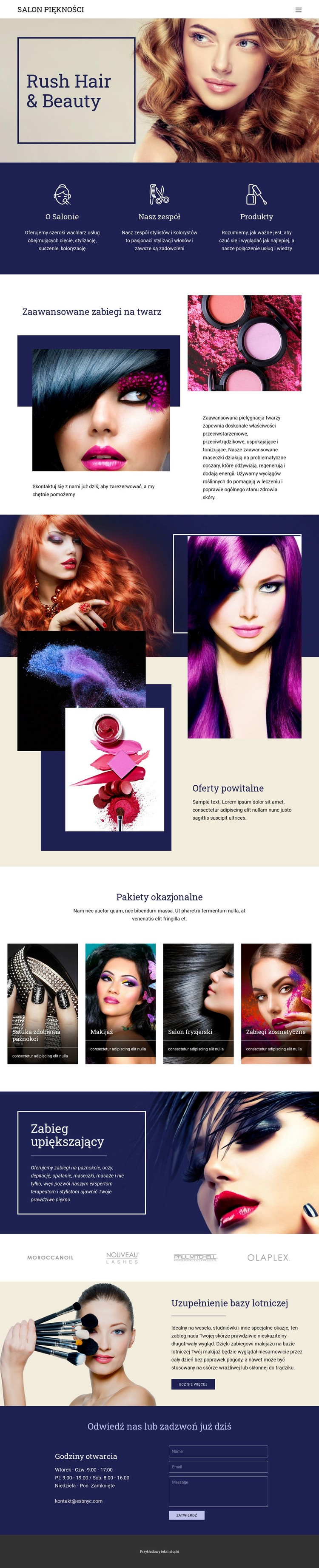 Salon piękności Szablon witryny sieci Web