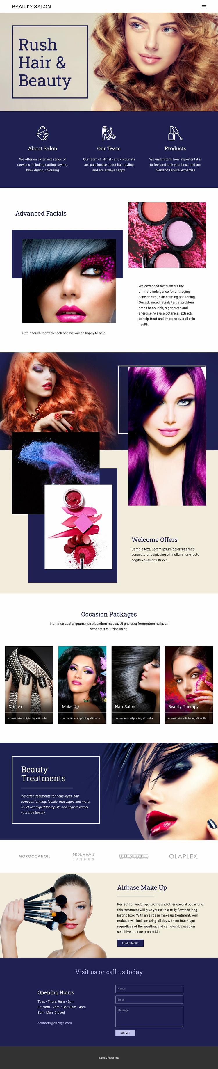 Beauty Salon Web Page Designer