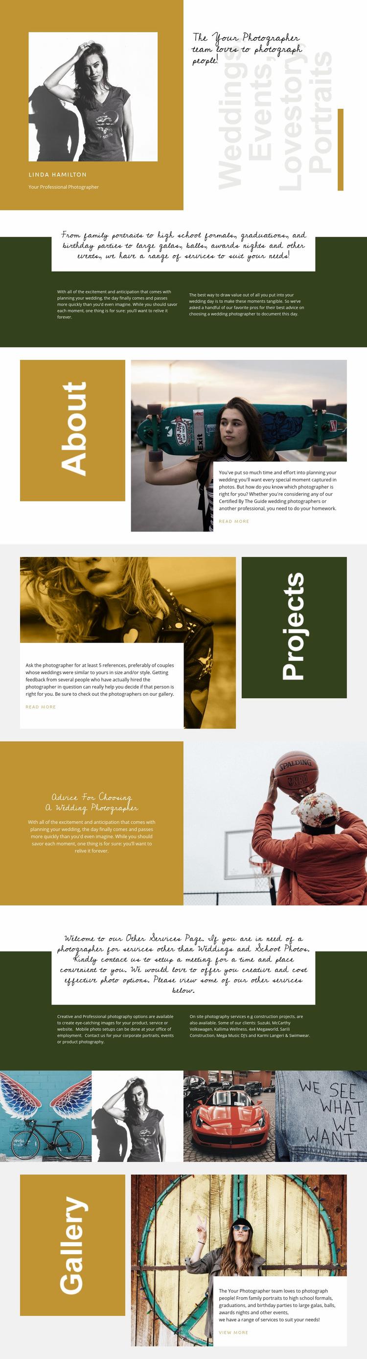 Fashion photography courses Web Page Design