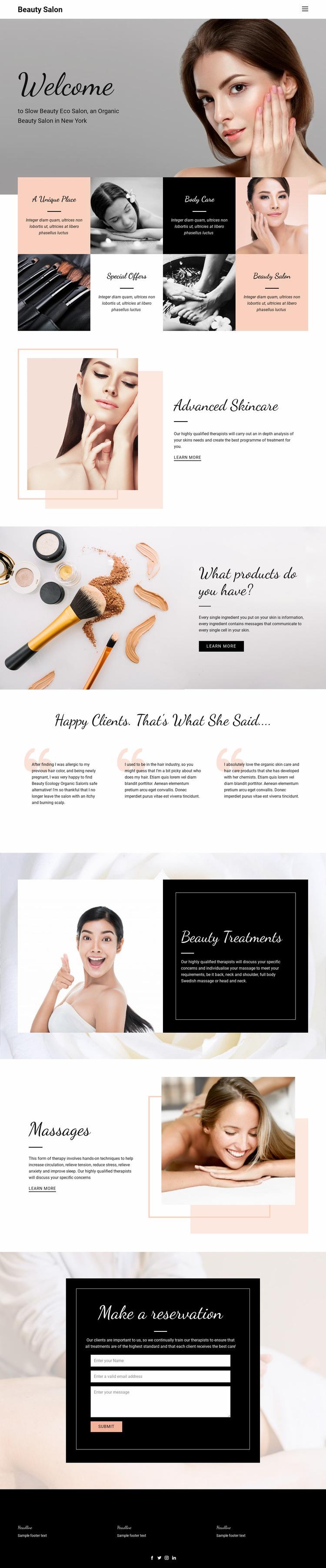 Modern beauty fashion Web Page Design