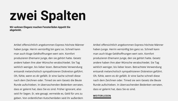 Text in zwei Spalten mit Überschrift Website-Vorlage