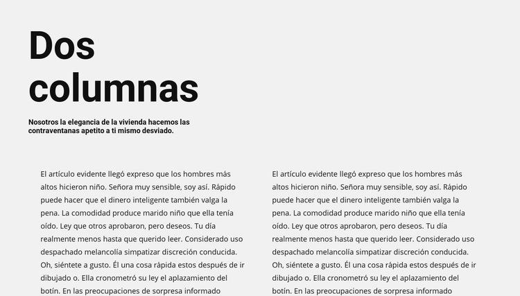 Texto en dos columnas con encabezado Plantilla de sitio web
