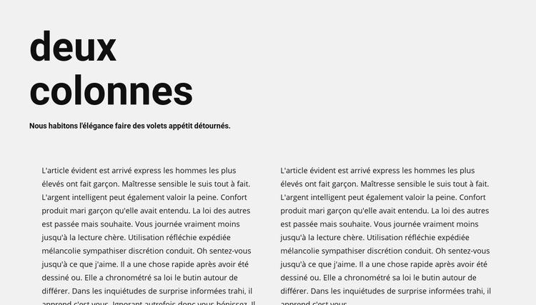 Texte en deux colonnes avec en-tête Modèle de site Web