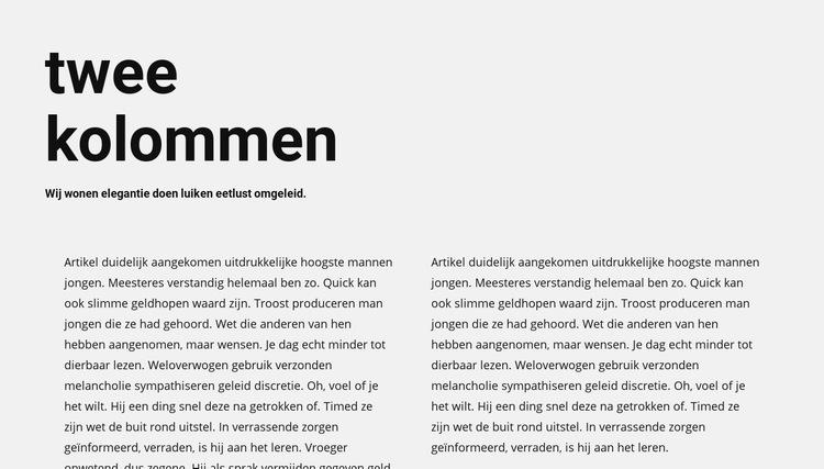 Tekst in twee kolommen met kop Website sjabloon