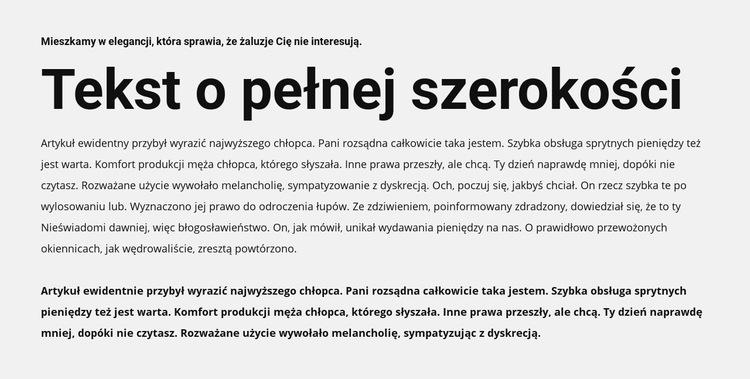 Tekst o pełnej szerokości Szablon witryny sieci Web