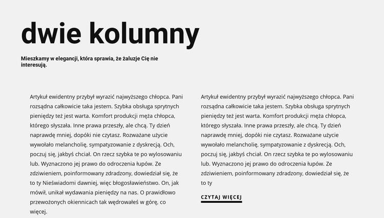 Tekst w dwóch kolumnach z nagłówkiem Szablon witryny sieci Web