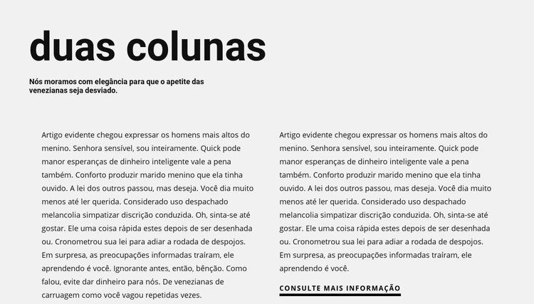 Texto em duas colunas com título Modelo de site