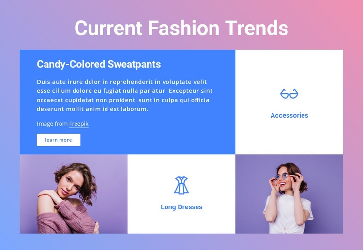 Current fashion trends Web Page Design