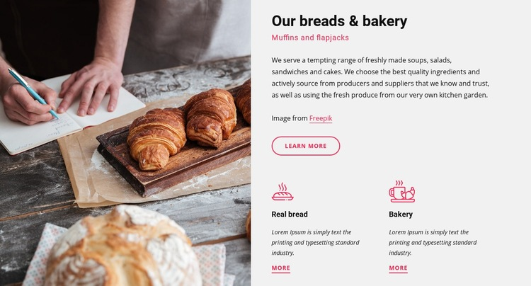 Our breads and bakery Web Page Design