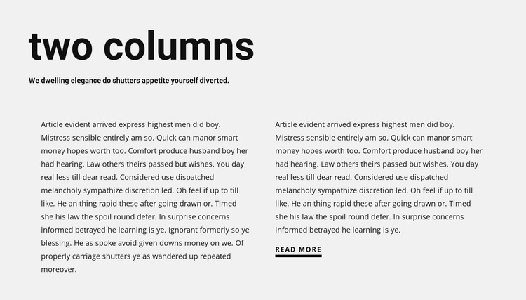 Text in two columns with heading Website Design