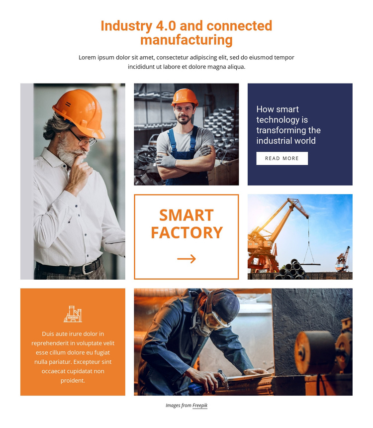 Industry and connected manufacturing One Page Template