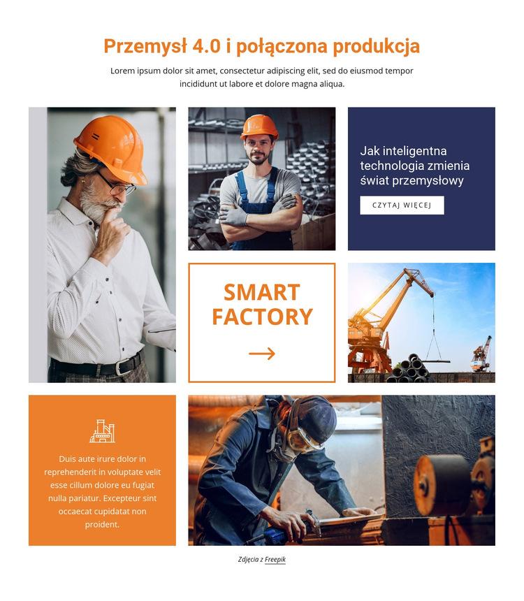 Przemysł i połączona produkcja Szablon witryny sieci Web