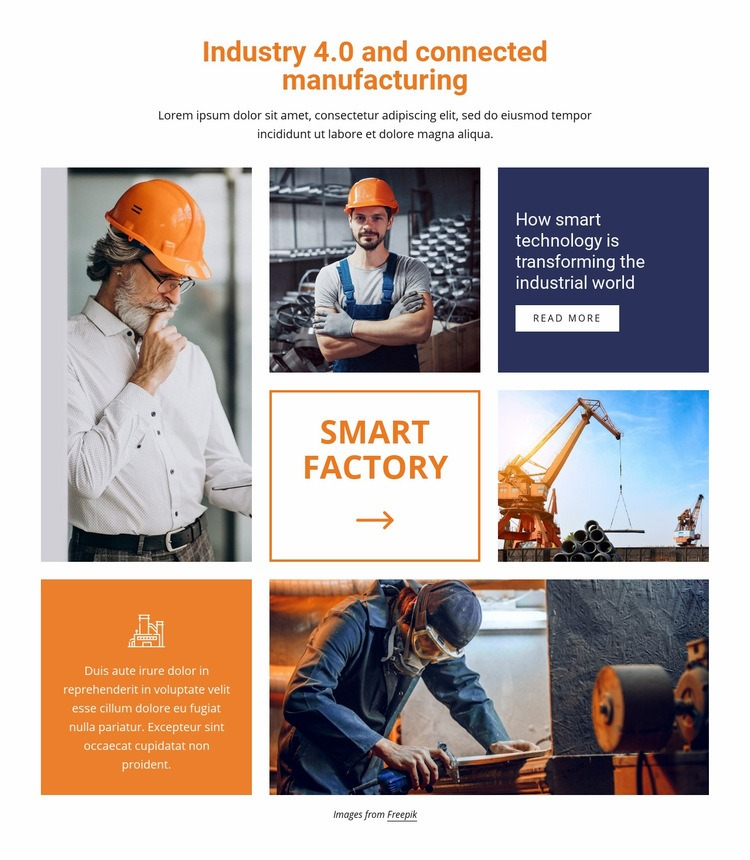Industry and connected manufacturing Web Page Design