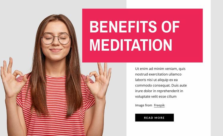 Benefits of meditation Website Template