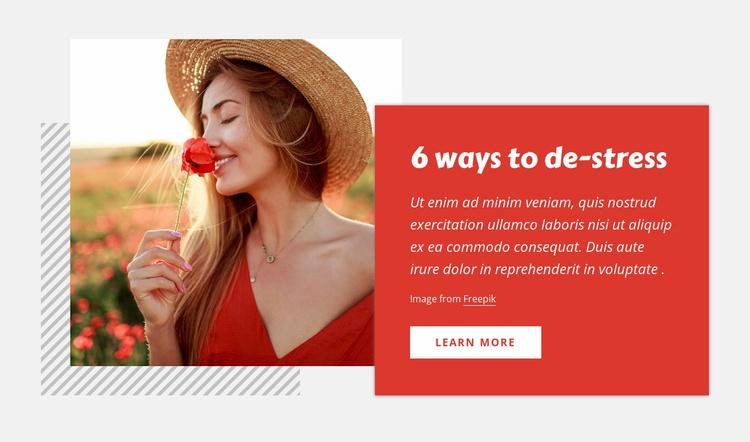 6 Ways to de-stress Website Template
