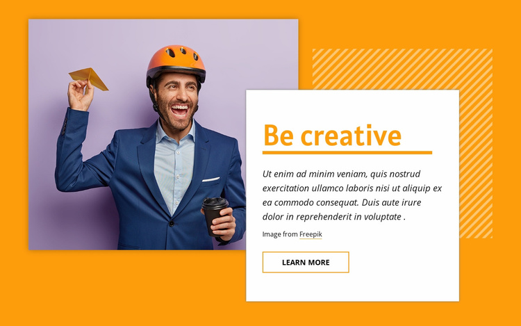 Be creative Landing Page