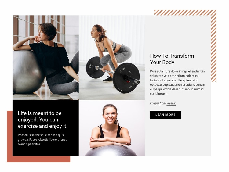 Start to attend the gym regularly Web Page Design