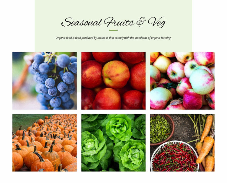 Seasonal fruits and vegetables Landing Page