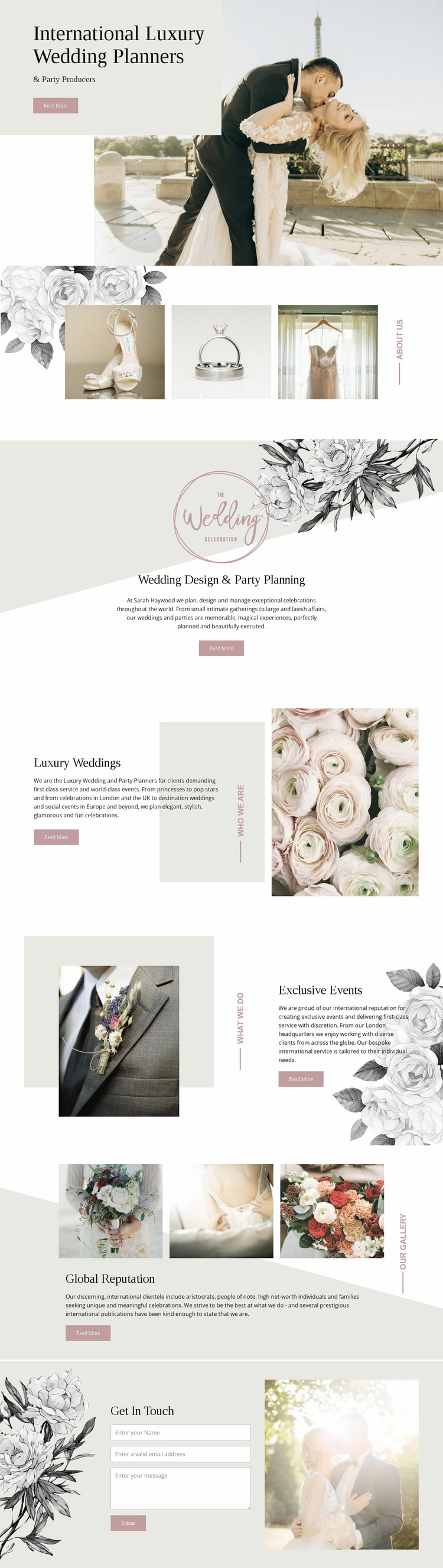 Planners of luxury wedding Website Mockup