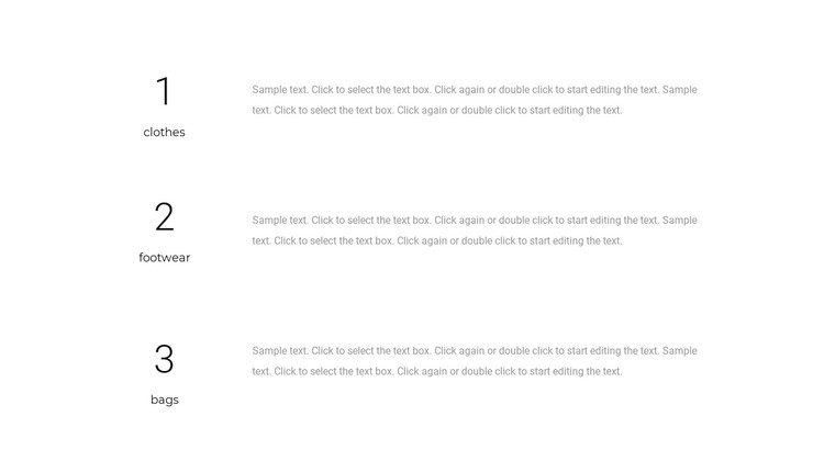 Three text blocks Static Site Generator