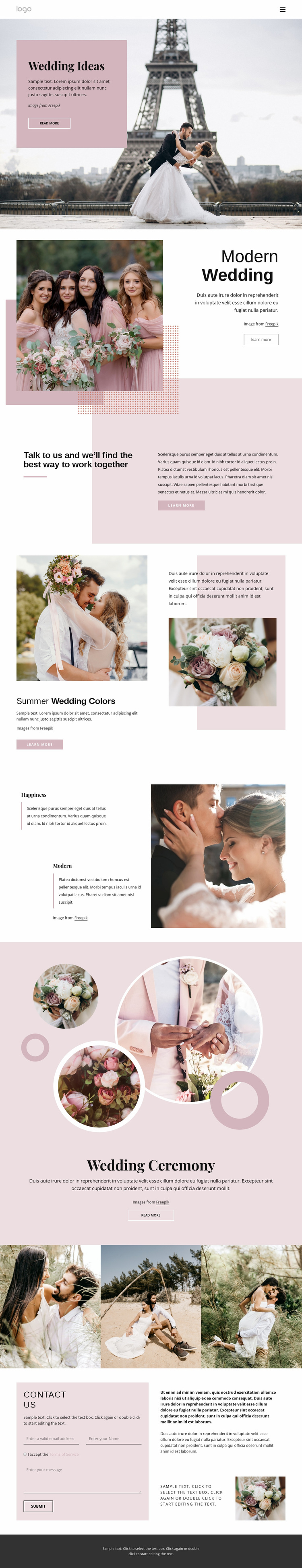 Unique wedding ceremony Website Design