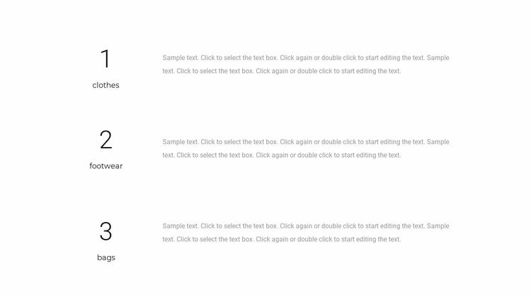 Three text blocks Website Template