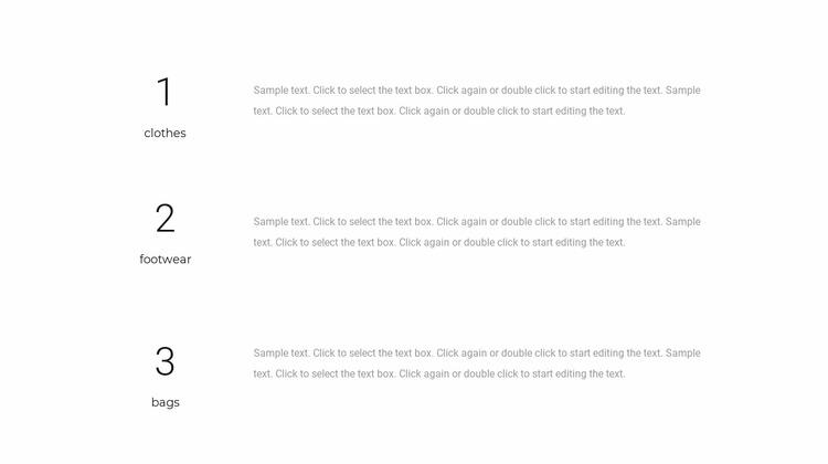 Three text blocks WordPress Website Builder