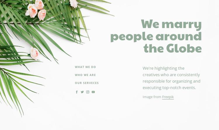 We marry people around the Clobe Website Template