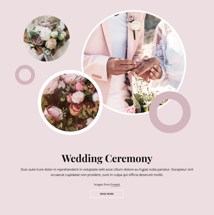 Romantic wedding ceremony WordPress Theme
