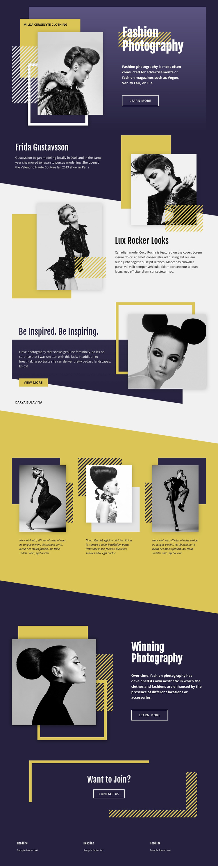 Fashion Photography Overlapping Web Page Designer