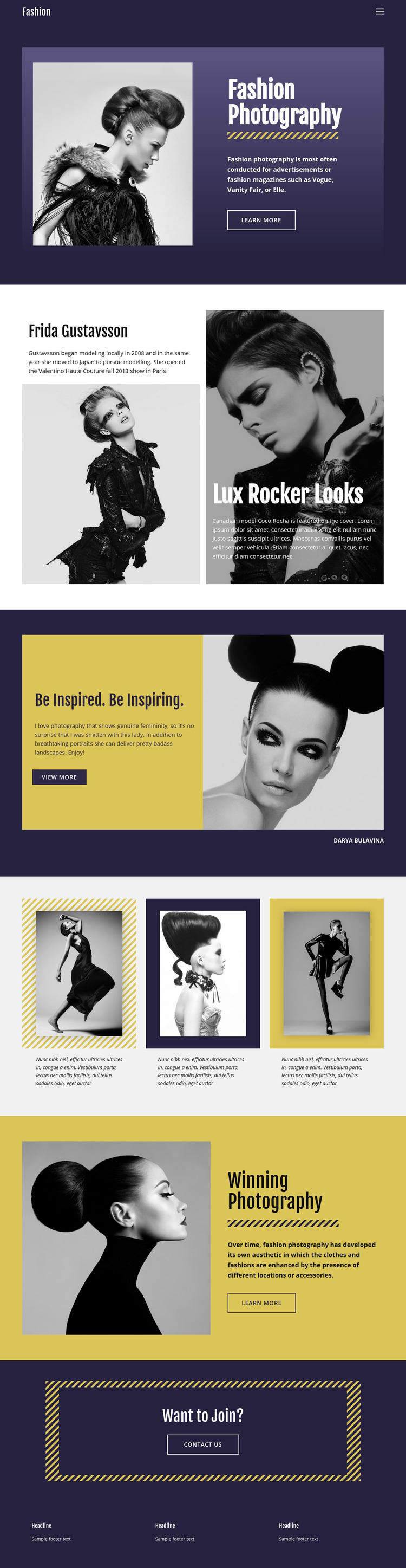 Fashion Photography Classic Style Web Page Design