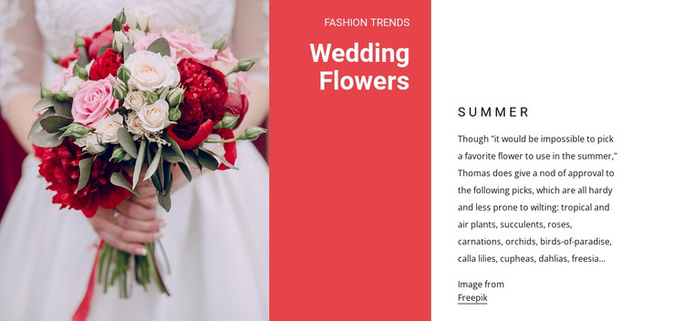 Wedding bouquets HTML Template