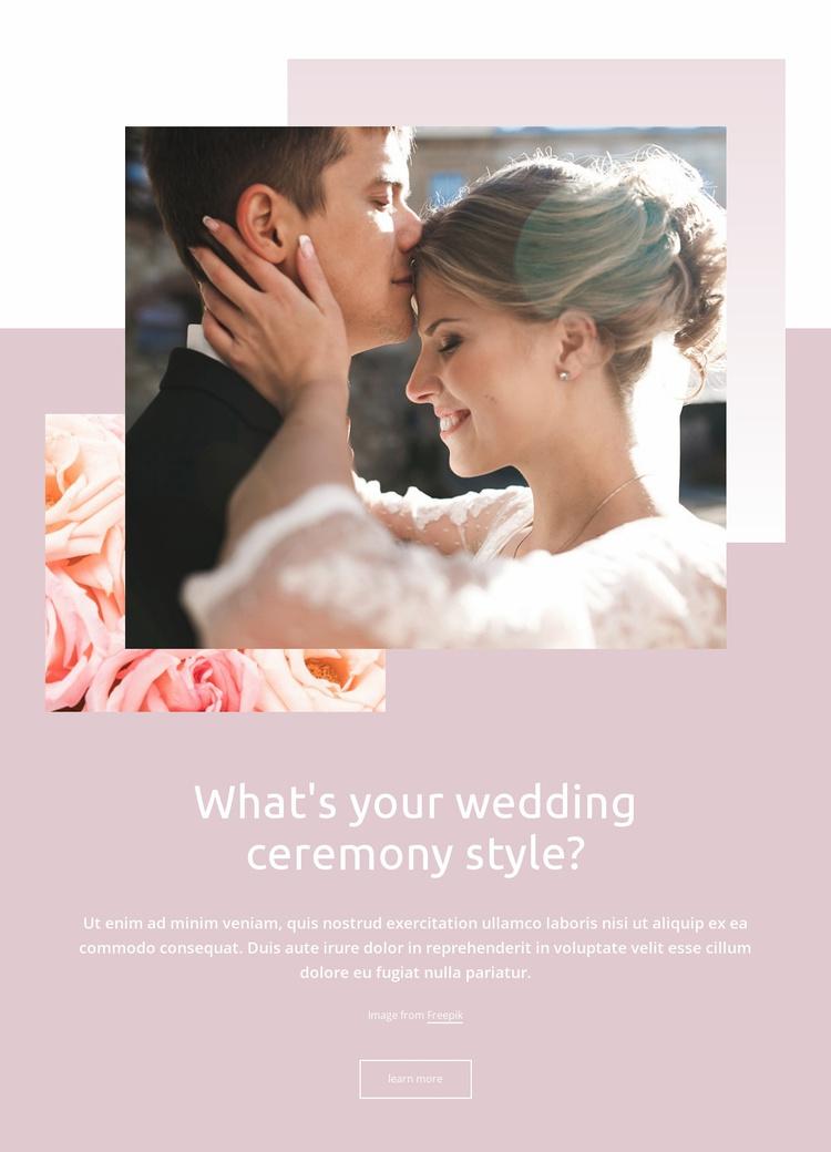 Wedding ceremony style Website Template