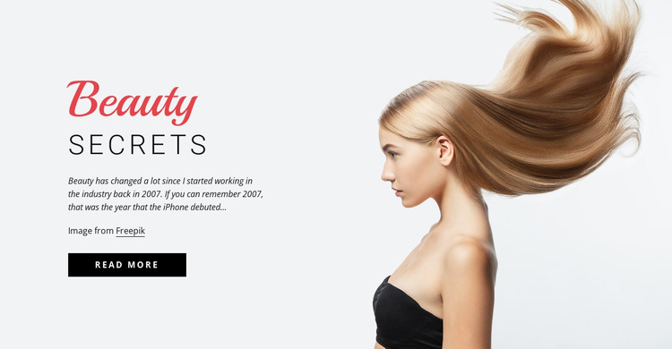 Beauty secrets Website Mockup