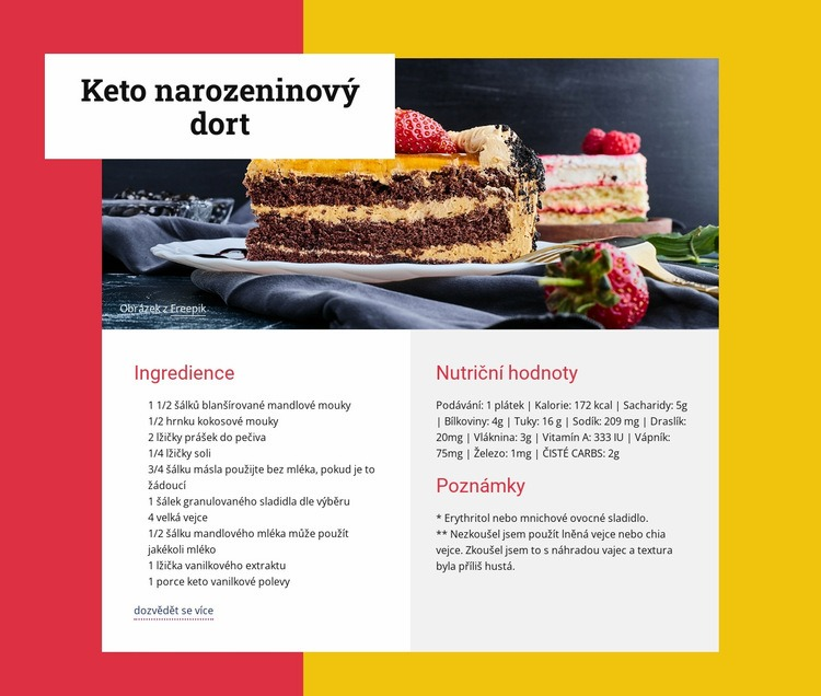 Keto narozeninový dort Šablona webové stránky