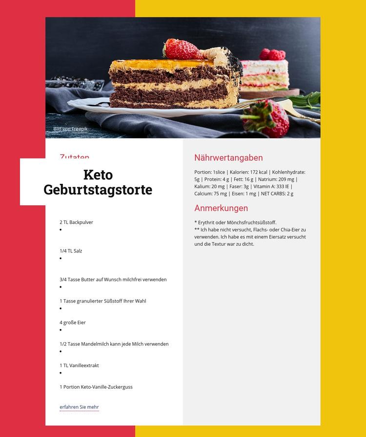 Keto Geburtstagstorte Website-Vorlage
