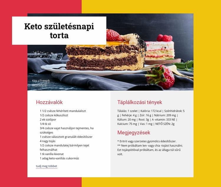 Keto születésnapi torta Weboldal sablon