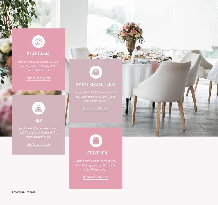 Eşsiz düğününüzü yaratın Web Sitesi Şablonu