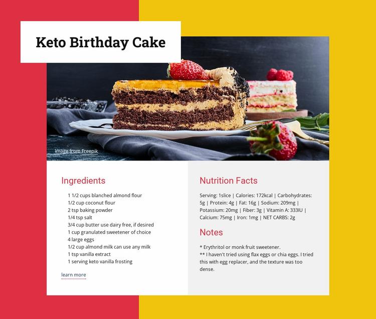 Keto birthday cake Website Mockup