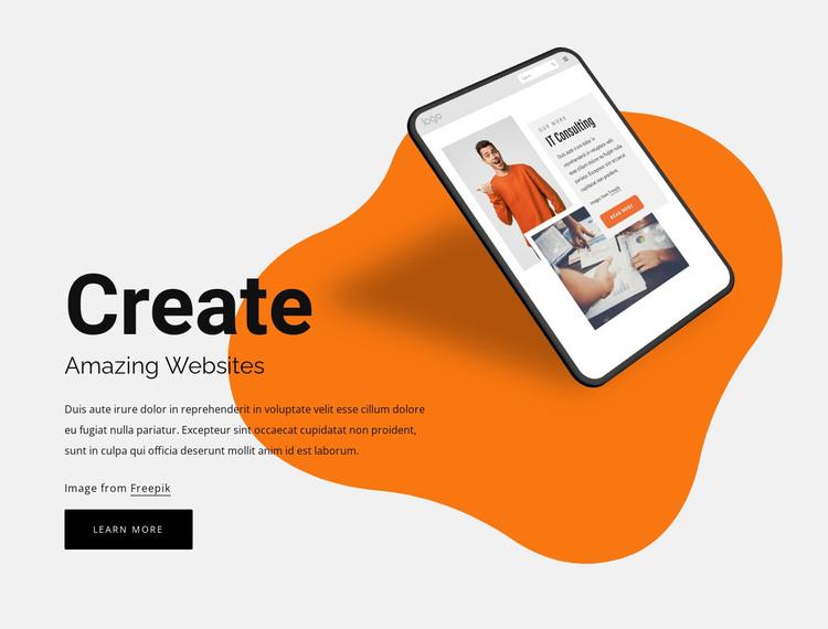 Create amazing websites HTML Template