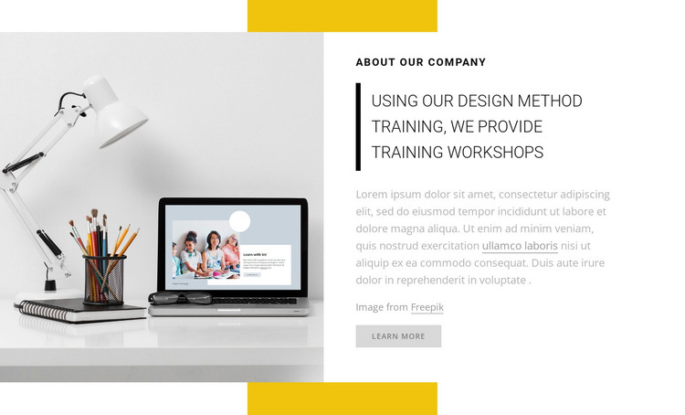 We provide training workshops HTML Template