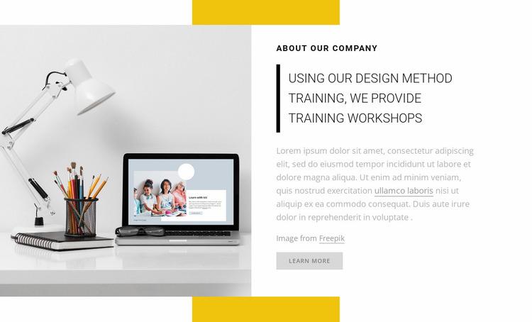 We provide training workshops Website Mockup