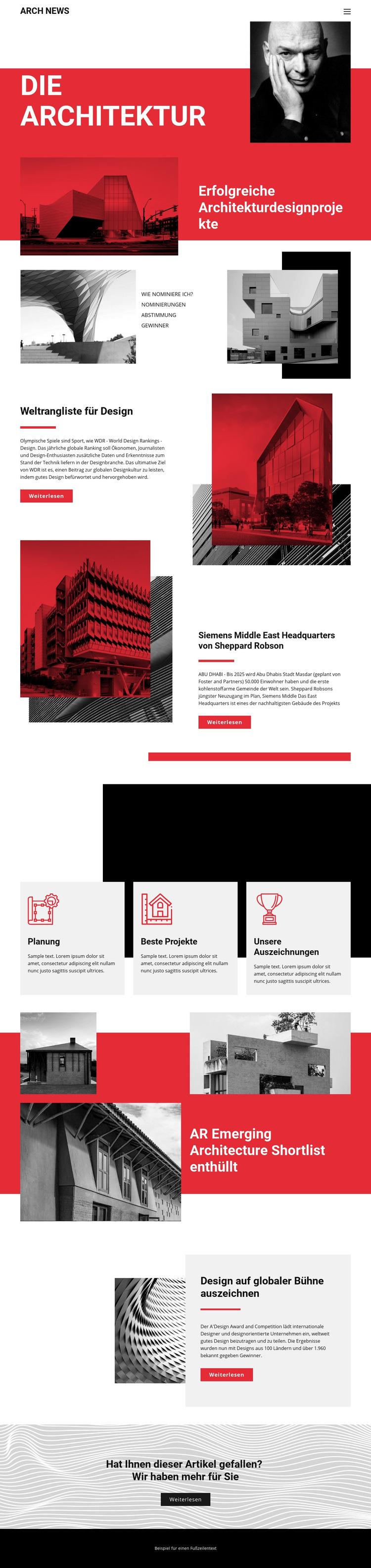 Design in der Architektur Website-Vorlage