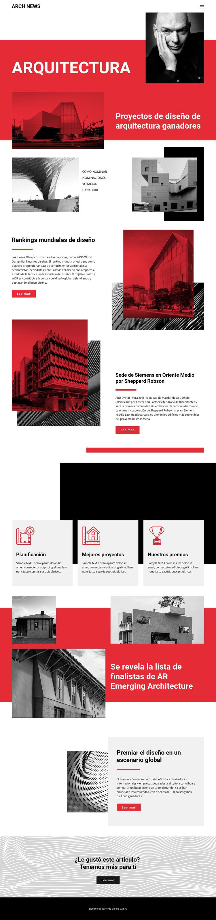 Diseño en arquitectura Plantilla de sitio web