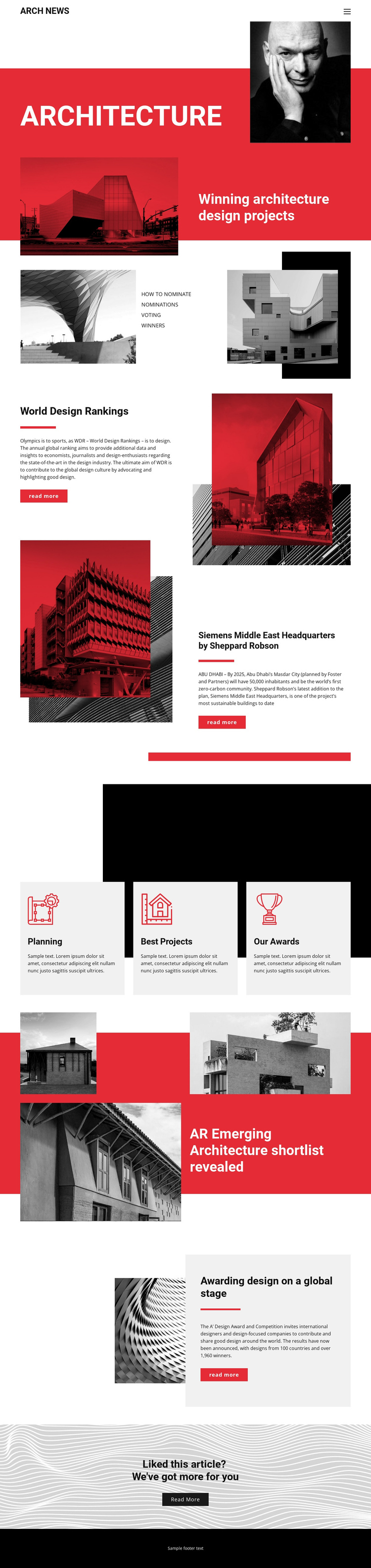 Design in architecture One Page Template