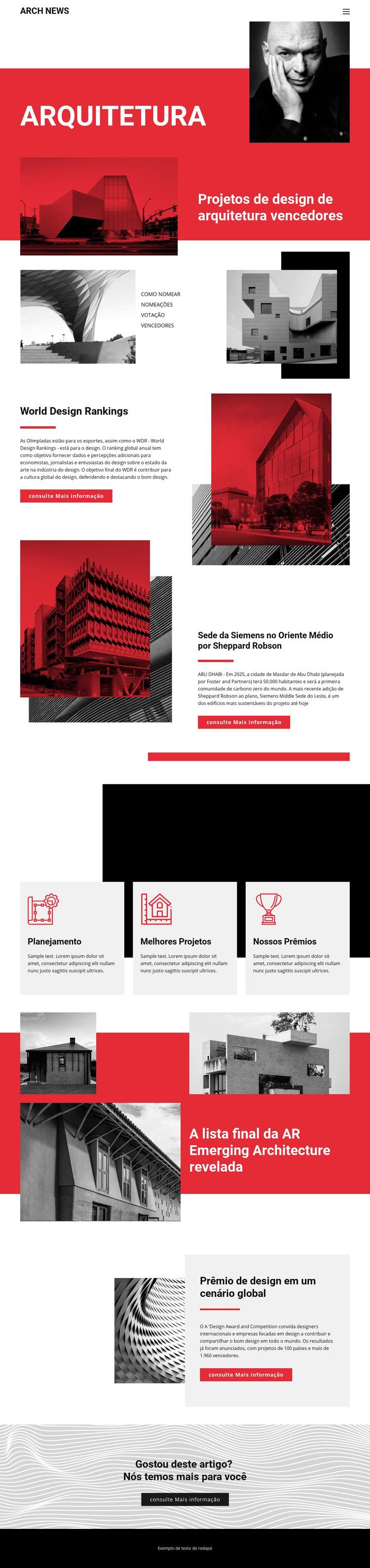 Design em arquitetura Modelo de site
