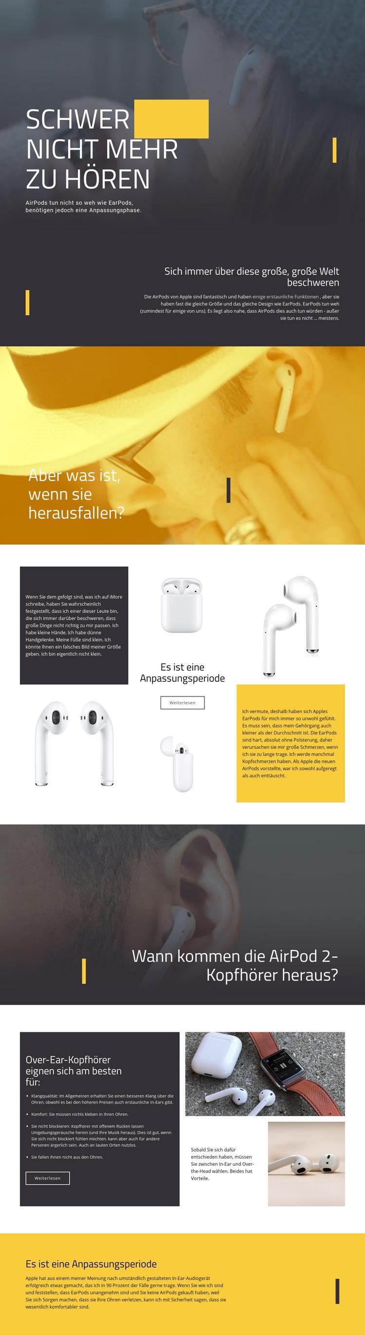 Beste Kopfhörer Website-Vorlage