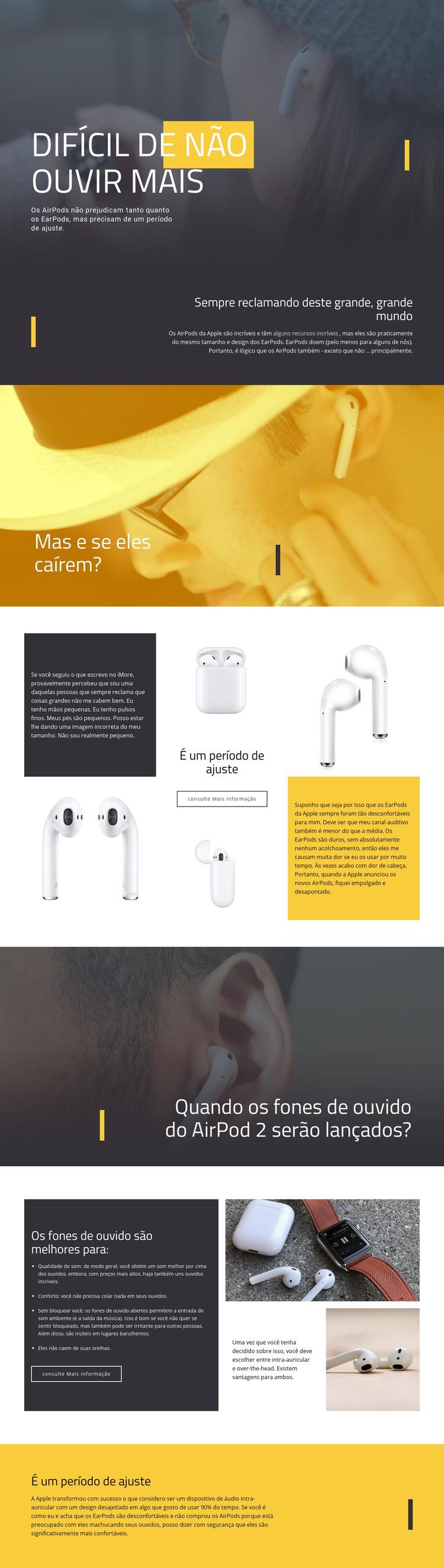 Melhores fones de ouvido Modelo de site