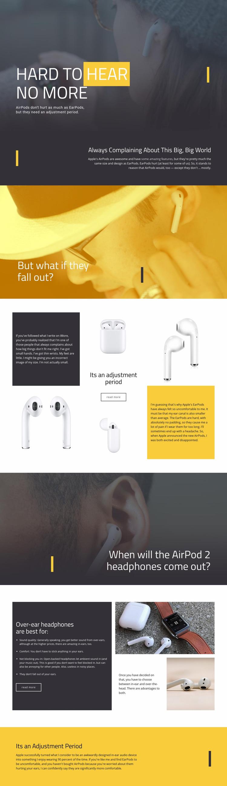 Best Headphones Web Page Designer